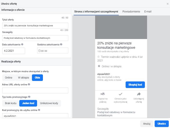 Jak ustawić kody rabatowe na FB krok czwarty poradnik