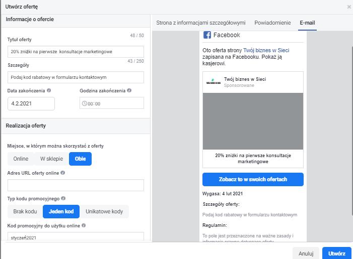 Kody rabatowe na FB jak to działa powiadomienia e-mailowe przykład