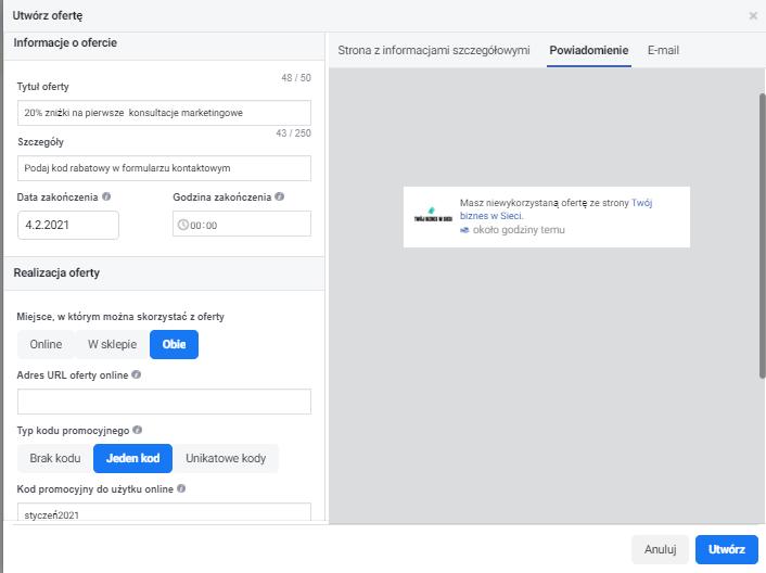 Kody rabatowe na FB jak to działa powiadomienia, które otrzymuje użytkownik przykład
