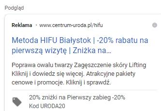 Rozszerzenie promocji Google Ads Przykład oferty z kodem rabatowym