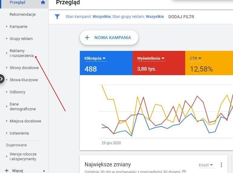 Jak ustawić Rozszerzenia promocji Google Ads poradnik krok pierwszy