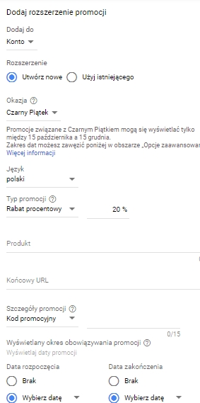 Jak ustawić Rozszerzenia promocji Google Ads poradnik krok czwarty